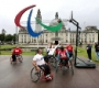 With just under two weeks to go until the start of the Paralympic Games, a giant set of Agitos, the symbol for the Paralympic Games, has today been launched outside Cardiff City Hall.   This is the first of five sets of giant Paralympic Agitos to launch in the UK before the Paralympic Games begin on the 29th August.  Members of Wheelchair Basketball club Cardiff Celts, including Caroline Matthews who was part of the GB Wheelchair Basketball Team in Athens 2004 and Beijing 2008, also attended the event and took part in a sporting demonstration  Photo credit should read: David Jones/PA Wire